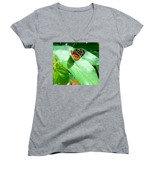 Women's V-Neck T-Shirt (Junior Cut) featuring the photograph Butterfly Chasing Shadow by Janette Boyd