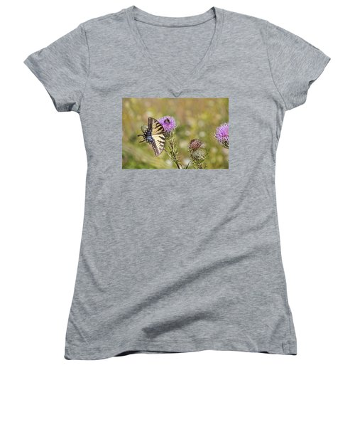 Women's V-Neck T-Shirt (Junior Cut) featuring the photograph Butterfly by Daniel Sheldon