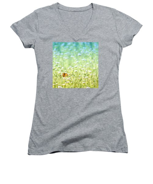 Women's V-Neck T-Shirt (Junior Cut) featuring the photograph Butterfly Dreams by Holly Kempe