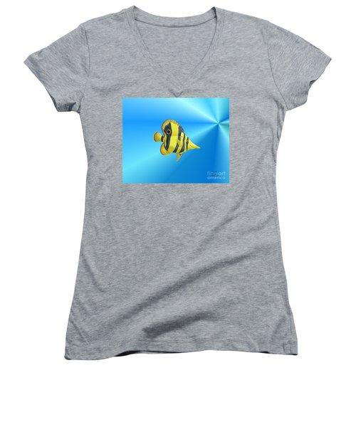 Women's V-Neck T-Shirt (Junior Cut) featuring the digital art Butterfly Fish by Chris Thomas