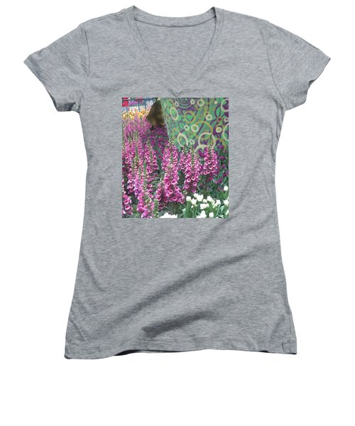 Women's V-Neck T-Shirt (Junior Cut) featuring the photograph Butterfly Garden Purple White Flowers Painted Wall by Navin Joshi