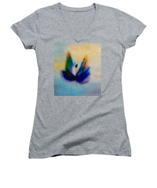 Women's V-Neck T-Shirt (Junior Cut) featuring the digital art Butterfly In Color by Frank Bright