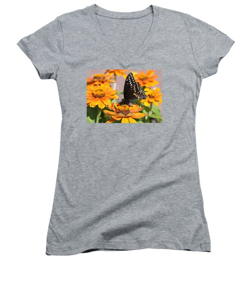 Butterfly In Living Color Women's V-Neck T-Shirt