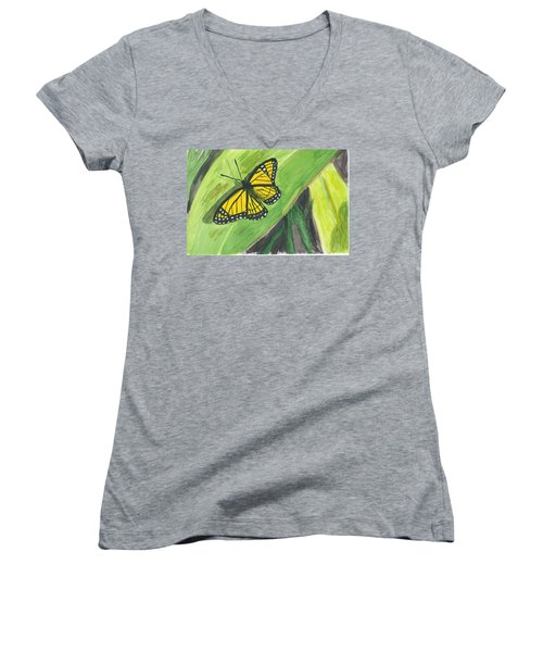 Women's V-Neck T-Shirt (Junior Cut) featuring the painting Butterfly In Vermont Corn Field by Donna Walsh
