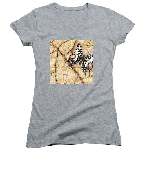 Butterfly Mosaic 01 Elena Yakubovich Women's V-Neck T-Shirt (Junior Cut) by Elena Yakubovich