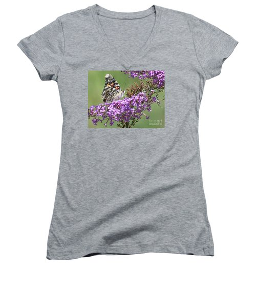 Women's V-Neck T-Shirt (Junior Cut) featuring the photograph Painted Lady Butterfly by Eunice Miller
