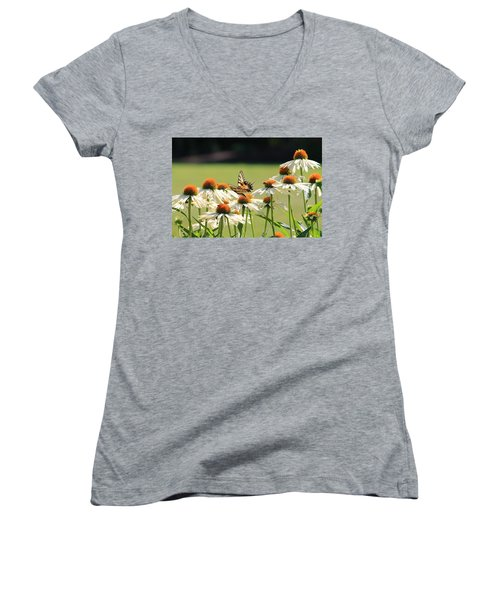 Butterfly On Echinacea Women's V-Neck (Athletic Fit)