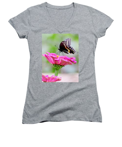 Butterfly On Pink Flower Women's V-Neck (Athletic Fit)