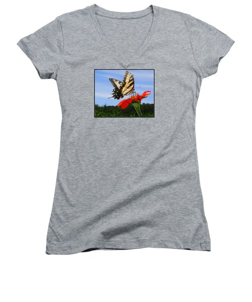 Butterfly On Red Daisy Women's V-Neck (Athletic Fit)