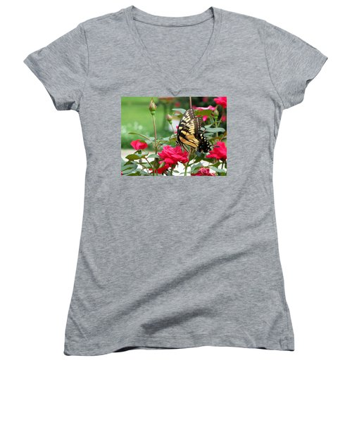 Butterfly Rose Women's V-Neck T-Shirt (Junior Cut) by Greg Simmons