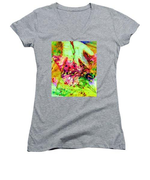 Butterfly That Was A Muscian Women's V-Neck T-Shirt