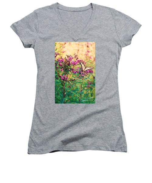 Women's V-Neck T-Shirt (Junior Cut) featuring the painting Butterfly Wildflower by Eric  Schiabor