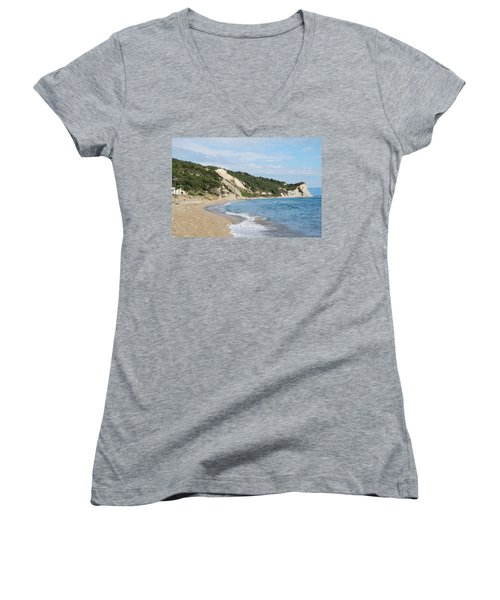 Women's V-Neck T-Shirt (Junior Cut) featuring the photograph By The Beach by George Katechis
