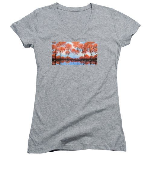 By The Shore Women's V-Neck T-Shirt (Junior Cut) by Amy Giacomelli