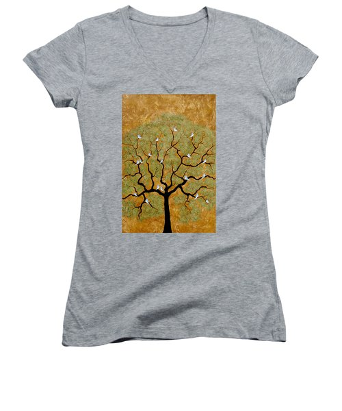 By The Tree Re-painted Women's V-Neck