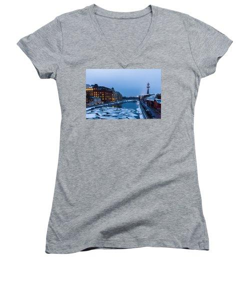 Bypass Canal Of Moscow River - Featured 3 Women's V-Neck T-Shirt (Junior Cut) by Alexander Senin
