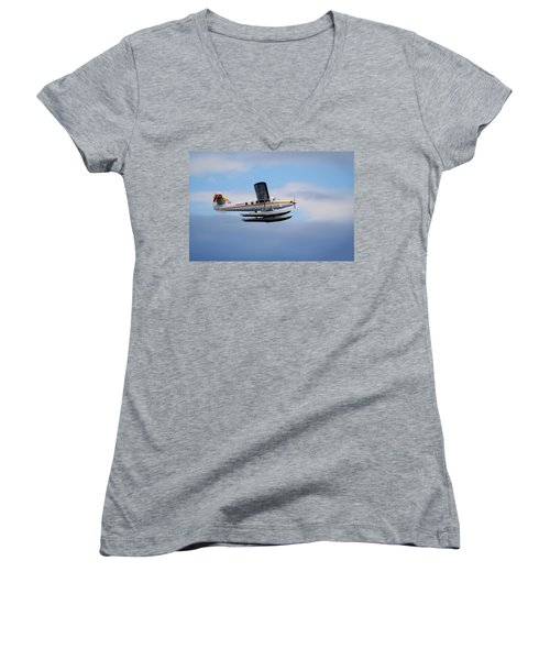 Women's V-Neck T-Shirt (Junior Cut) featuring the photograph C-frno by Mark Alan Perry