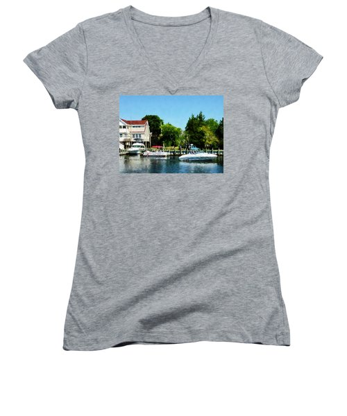 Women's V-Neck T-Shirt (Junior Cut) featuring the photograph Cabin Cruisers by Susan Savad