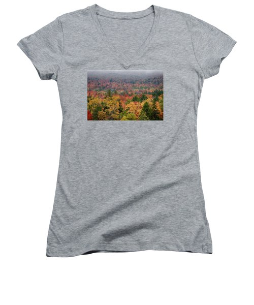 Cabin In Vermont Fall Colors Women's V-Neck