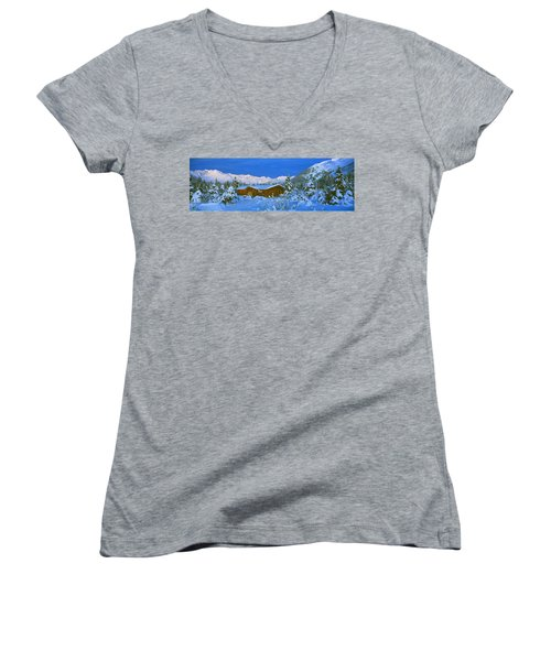 Cabin Mount Alyeska, Alaska, Usa Women's V-Neck T-Shirt