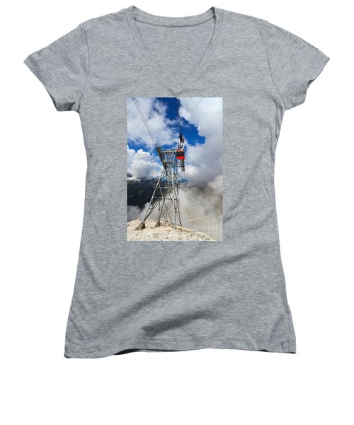 cableway in Italian Dolomites Women's V-Neck T-Shirt