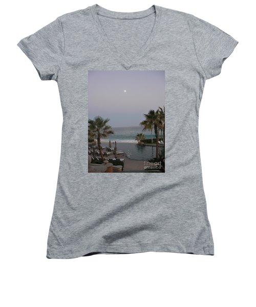 Cabo Moonlight Women's V-Neck T-Shirt (Junior Cut) by Susan Garren