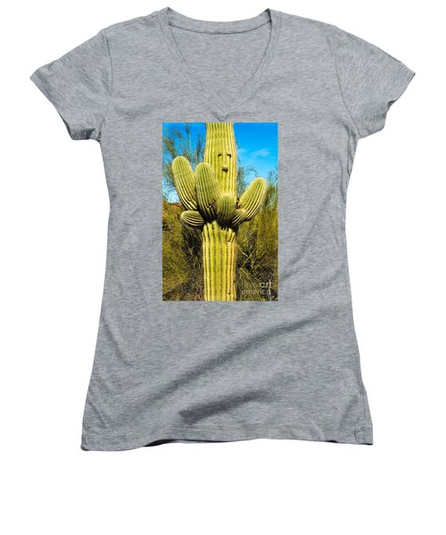 Women's V-Neck featuring the photograph Cactus Face by Mae Wertz