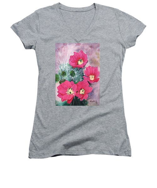 Cactus Flowers I Women's V-Neck T-Shirt (Junior Cut) by Mike Robles