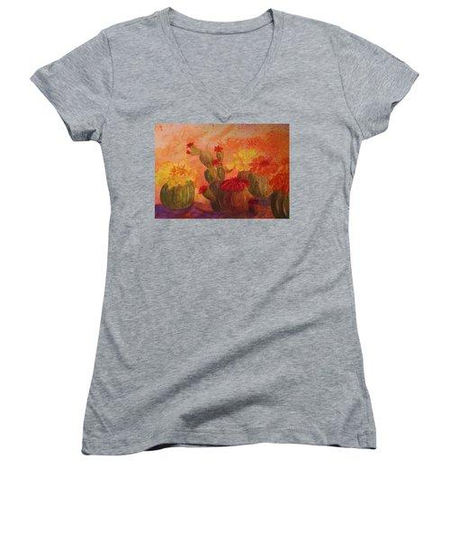 Cactus Garden Women's V-Neck T-Shirt (Junior Cut) by Ellen Levinson
