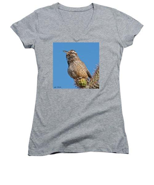 Cactus Wren Singing Women's V-Neck T-Shirt (Junior Cut) by Jeff Goulden