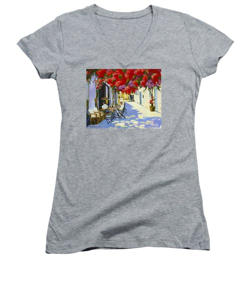 Cafe Women's V-Neck T-Shirt (Junior Cut) by Alexandra Maria Ethlyn Cheshire