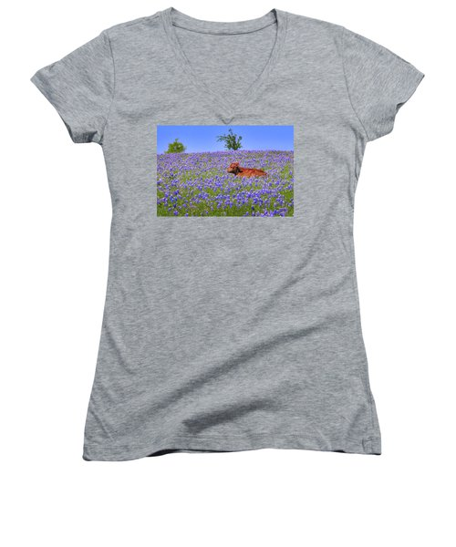 Women's V-Neck T-Shirt (Junior Cut) featuring the photograph Calf Nestled In Bluebonnets - Texas Wildflowers Landscape Cow by Jon Holiday