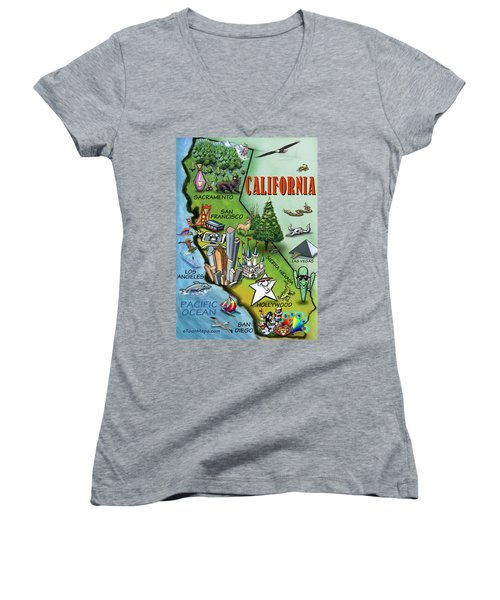 California Cartoon Map Women's V-Neck T-Shirt (Junior Cut) by Kevin Middleton