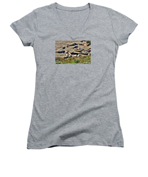 California Dreaming Women's V-Neck T-Shirt (Junior Cut) by Jim Carrell