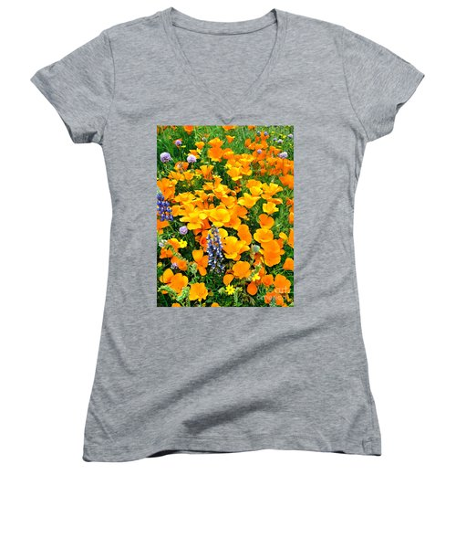 California Poppies And Betham Lupines Southern California Women's V-Neck (Athletic Fit)