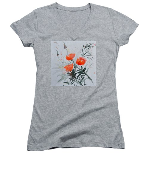 California Poppies Sumi-e Women's V-Neck (Athletic Fit)