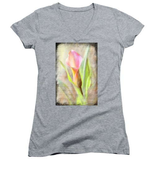 Calla Lily In Pink Women's V-Neck (Athletic Fit)