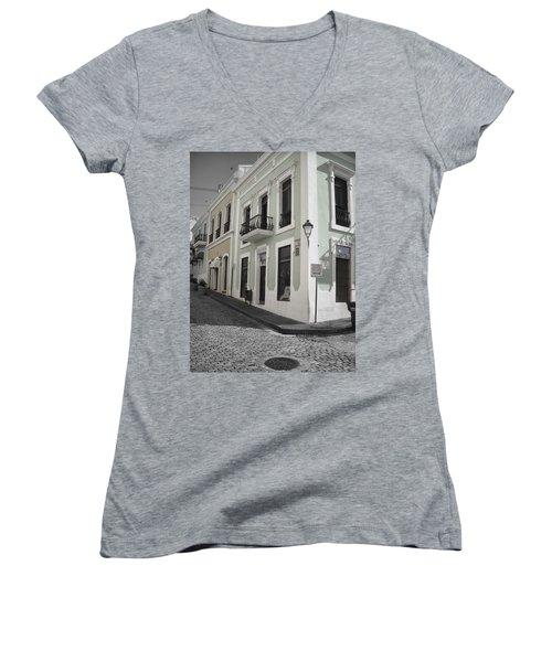 Women's V-Neck T-Shirt (Junior Cut) featuring the photograph Calle De Luna Y Calle Del Cristo by Daniel Sheldon