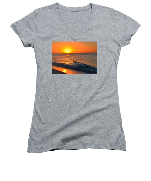 Calm And Clear Sunrise On Navarre Beach With Small Perfect Wave Women's V-Neck T-Shirt (Junior Cut) by Jeff at JSJ Photography