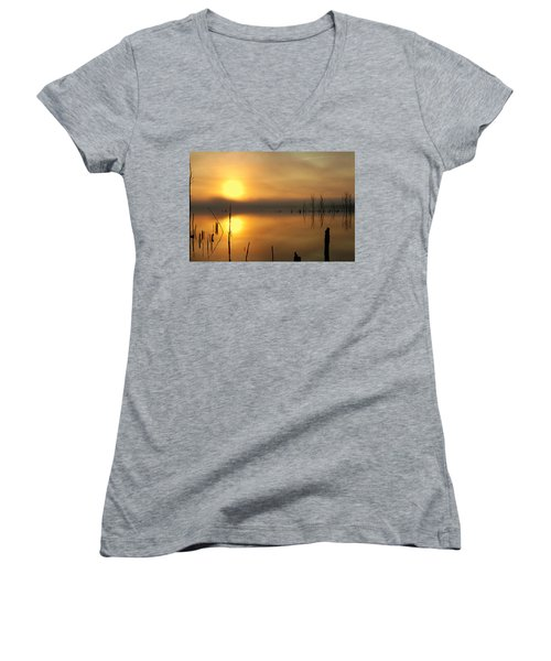 Calm At Dawn Women's V-Neck (Athletic Fit)