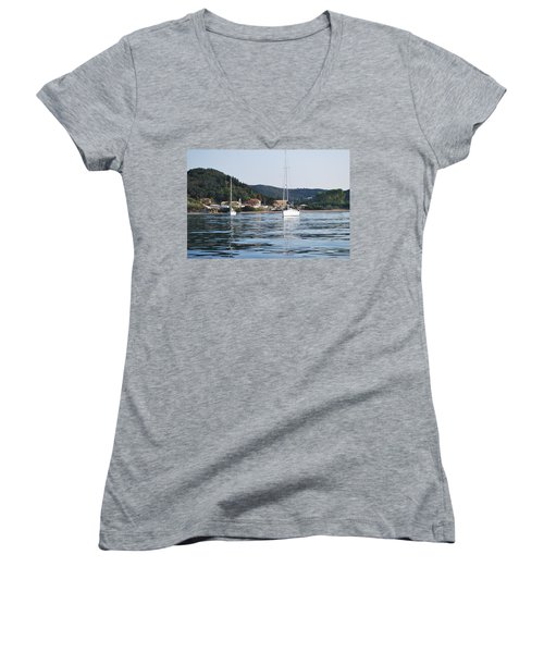 Calm Sea 2 Women's V-Neck T-Shirt (Junior Cut) by George Katechis