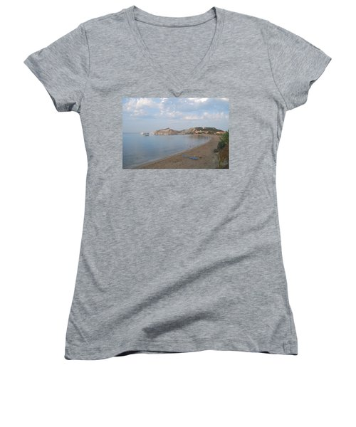 Women's V-Neck T-Shirt (Junior Cut) featuring the photograph Calm Sea by George Katechis