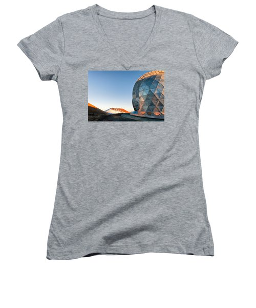Women's V-Neck T-Shirt (Junior Cut) featuring the photograph Caltech Submillimeter Observatory by Jim Thompson