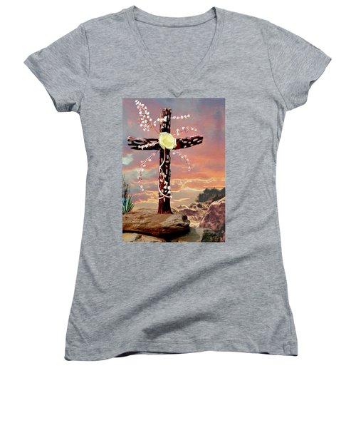 Calvary Cross Women's V-Neck T-Shirt (Junior Cut) by Ron Chambers