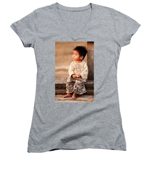 Cambodian Girl 02 Women's V-Neck (Athletic Fit)