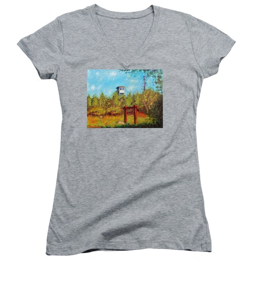 Camel Top Fire Tower Women's V-Neck T-Shirt (Junior Cut) by Jason Williamson