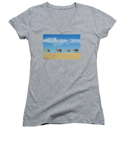 Camel Train Women's V-Neck T-Shirt