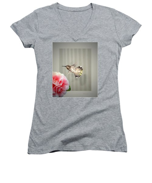Women's V-Neck T-Shirt (Junior Cut) featuring the photograph Camellia And Hummer by Joyce Dickens