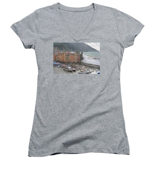 Women's V-Neck T-Shirt (Junior Cut) featuring the photograph Camogli Under A Storm by Antonio Scarpi