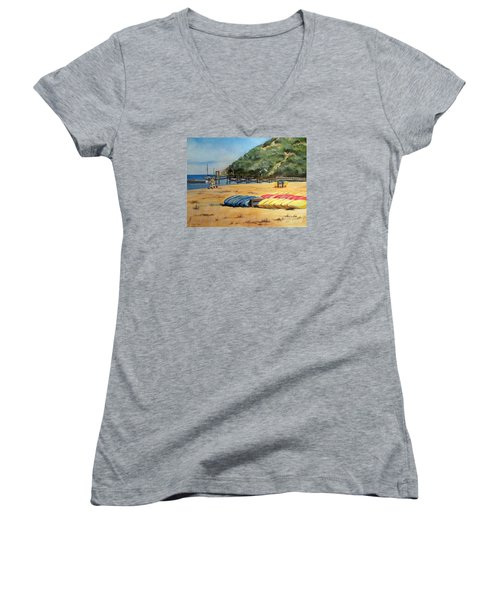 Camp Del Corazon  Women's V-Neck T-Shirt (Junior Cut) by Lee Piper